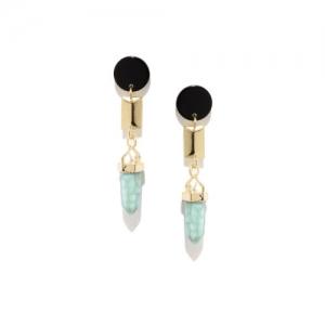 Golden Peacock Black Gold-Plated Beaded Drop Earrings