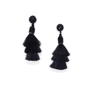 Golden Peacock Black Tassel Drop Contemporary Earring