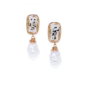 Golden Peacock Gold-Toned & White Teardrop Shaped Drop Earrings