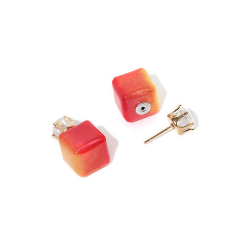 Golden Peacock Gold Plated & Orange Double Sided Stud Earring