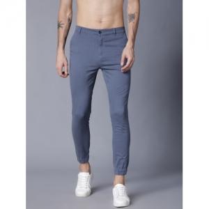 Highlander grey cotton lycra blend Slim Fit Trousers