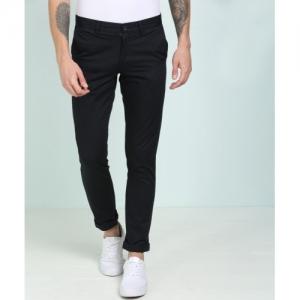 Indian Terrain black cotton blend Slim Fit Trousers