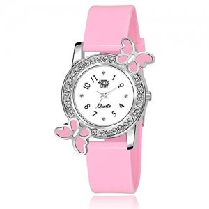 Swadesi Stuff Analog White Dial Diamond Studded Butterfly Watch for Girls & Women