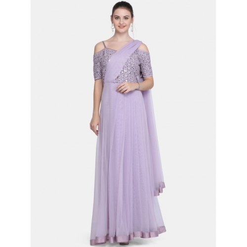 Ojjasvi Women Embellished Mauve Maxi Dress