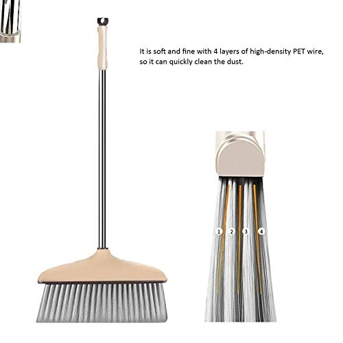 Jecrina Broom and Dustpan, Long Handle Broom and Dust Pan Set