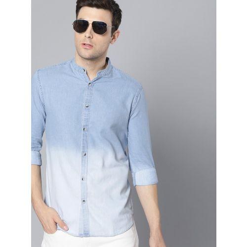 Dennis Lingo Blue Denim Solid Casual Shirt
