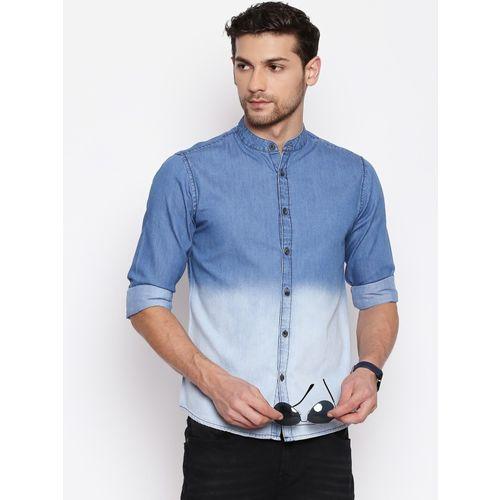 Dennis Lingo Blue Denim Washed Casual Shirt