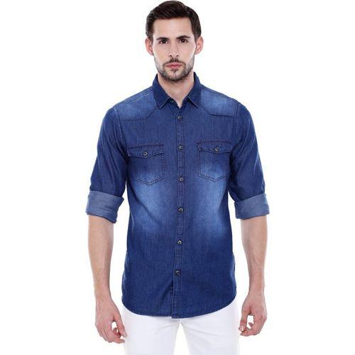 Dennis Lingo Men Solid Casual Dark Blue Shirt
