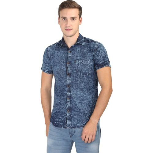 Asian&Fitch Men Washed Casual Blue Shirt