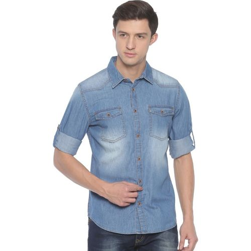 Raa Jeans Men Solid Casual Blue Shirt