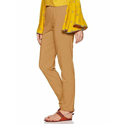 LUX LYRA Beige Cotton Solid  Pants
