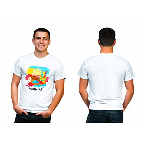 Supastyle Holi T-Shirts for Men | Holi T-Shirts for Boys | Colorful T-Shirts | Holi Dryfit Strechable T-Shirts | Color - White with Multicolor Designs