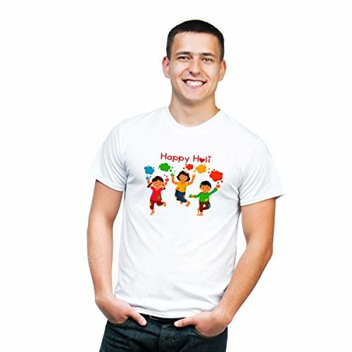 Alpha Collections Holi T-Shirts for Men | Holi T-Shirts for Boys | Colorful T-Shirts | Holi Dryfit Strechable T-Shirts | Color - White with Multicolor Designs