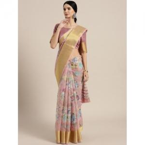 Saree mall Mauve & Blue Printed Saree