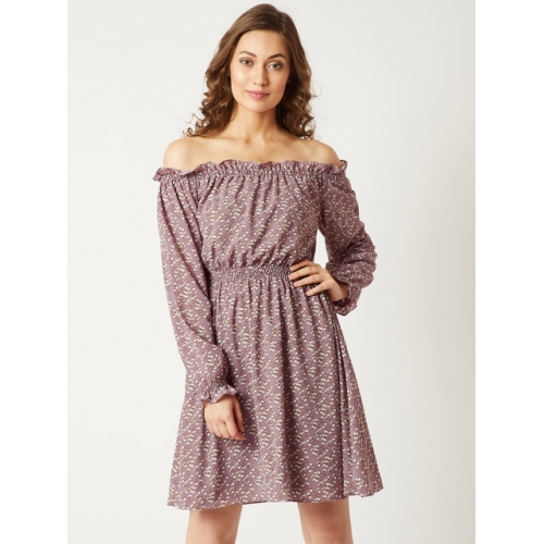 Miss Chase Women Purple Printed Fit and Flare Dress