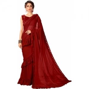 Sariya Embellished, Solid Fashion Lycra Blend Saree(Maroon)