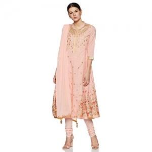 BIBA pink Cotton Straight Salwar Suit