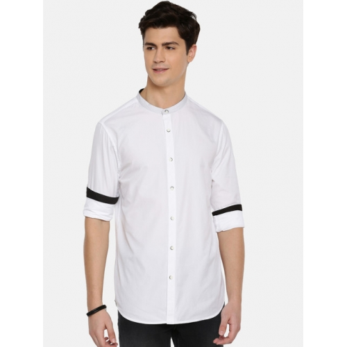 MODVOLK White Cotton Slim Fit Solid Casual Shirt
