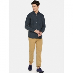 MODVOLK  Olive Green Cotton Slim Fit Checked Casual Shirt
