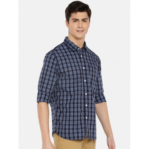 MODVOLK Navy Blue Cotton Slim Fit Checked Casual Shirt