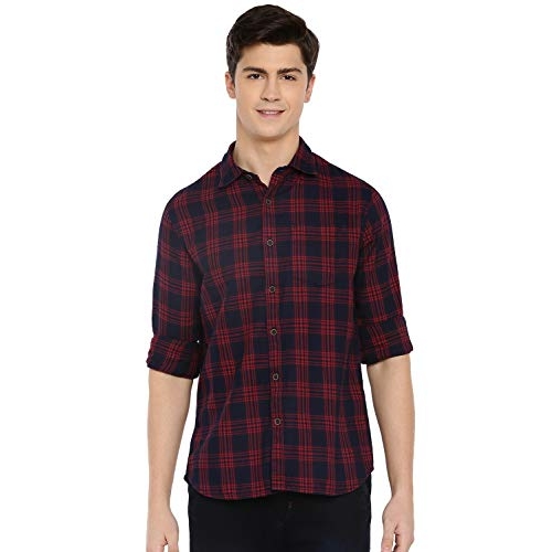 MODVOLK Red Indigo Cotton Slim fit Checked Casual Shirt