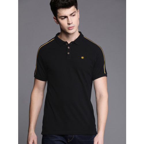 WROGN Men Black Slim Fit Solid Polo Collar T-shirt with Side Stripes