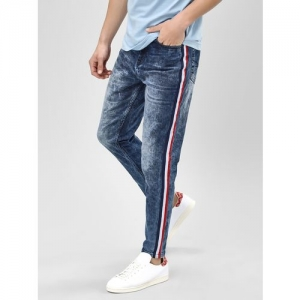 K Denim KOOVS Acid Wash Side Tape Slim Jeans
