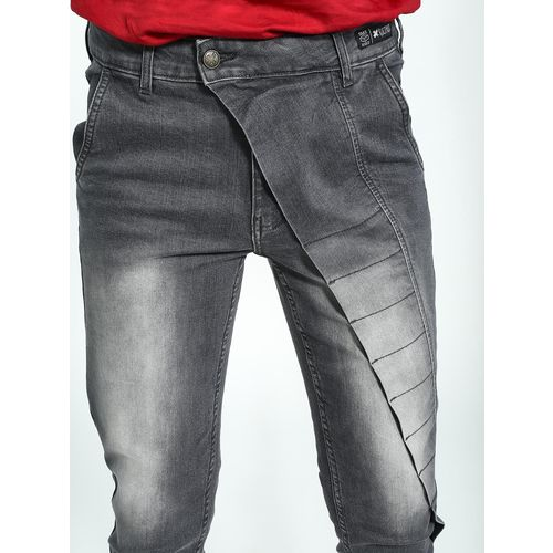 Kultprit Asymmetrical Fly Panel Washed Skinny Jeans