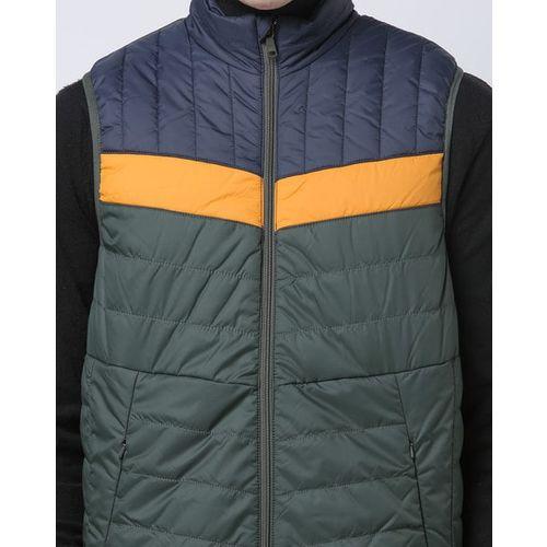 INDIAN TERRAIN Colourblock Zip-Front Puffer Jacket with Zip Pockets