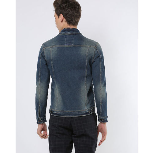 NUMERO UNO Button-Front Panelled Denim Jacket with Button-Flap Pockets