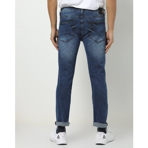 Pepe Jeans Washed Low-Rise Jeans with Whiskers