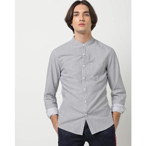 AJIO Pinstriped Slim Fit Shirt with Patch Pocket