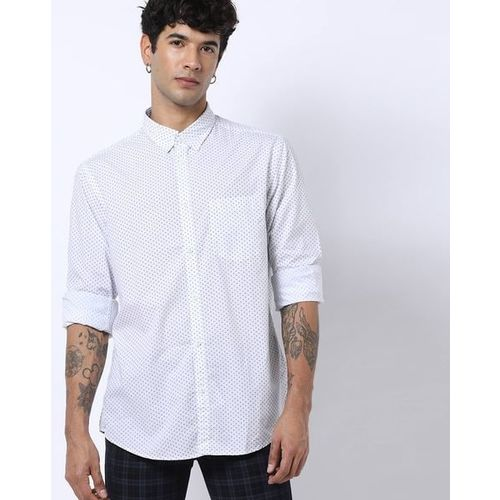 INDIAN TERRAIN Ditsy Print Slim Fit Shirt with Patch Pocket