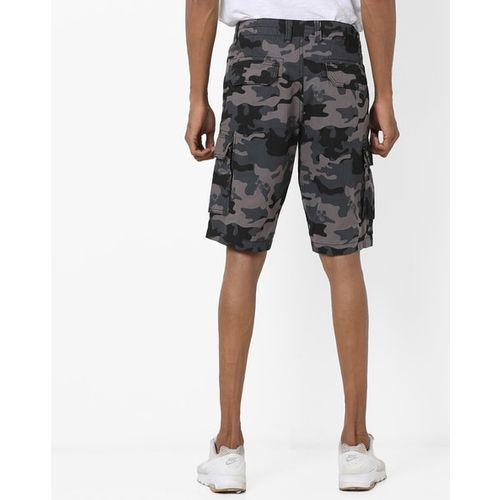 DNMX Camouflage Print Slim Fit Cargo Shorts