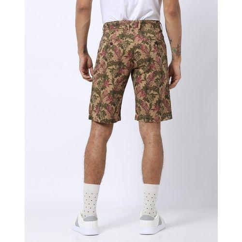 INDIAN TERRAIN Tropical Print Slim Fit Flat-Front City Shorts
