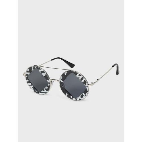 KOOVS Diagonal Cut-Out Tinted Round Sunglasses