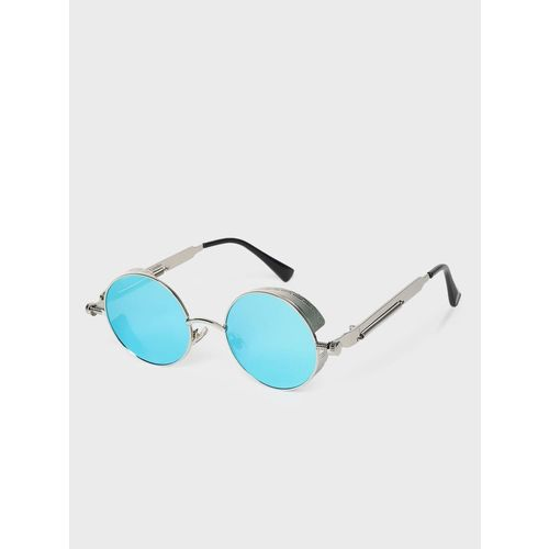 KOOVS Side-Shield Coloured Lens Round Sunglasses