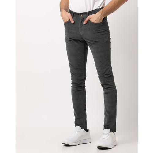 AJIO Checked Slim Fit Flat-Front Tapered Trousers
