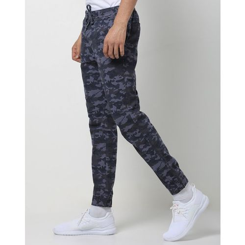 DNMX Camouflage Print Trousers with Drawstring Fastening