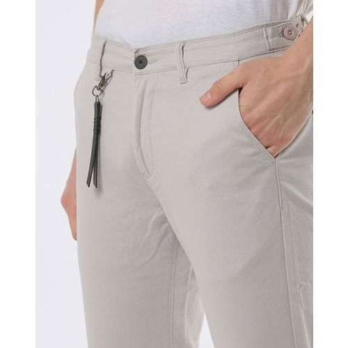 SPYKAR Low-Rise Slim Fit Flat-Front Trousers