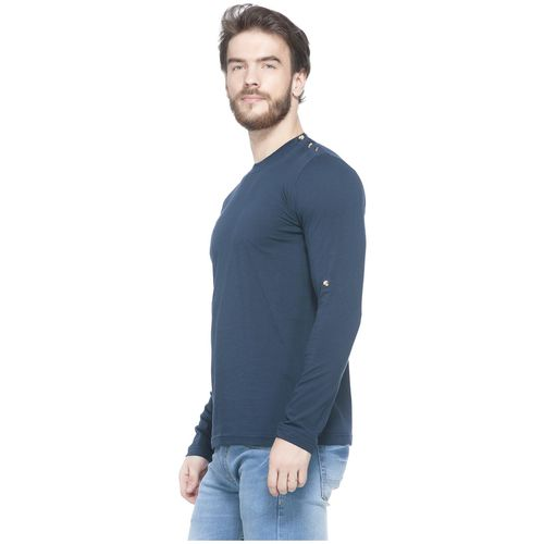 GESPO Men Blue Slim fit Cotton Round neck T-Shirt - Pack Of 1 by Frost Clothings