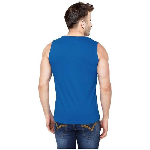 HOTFITS Men Blue Regular fit Cotton Round neck T-Shirt - Pack Of 1 by Hotfits Clothing