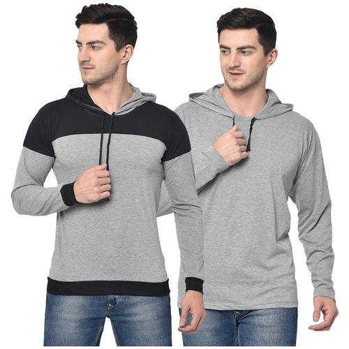 VIMAL JONNEY Men Grey Regular fit Cotton Blend Hood T-Shirt - Pack Of 2 by Mack Hosiery
