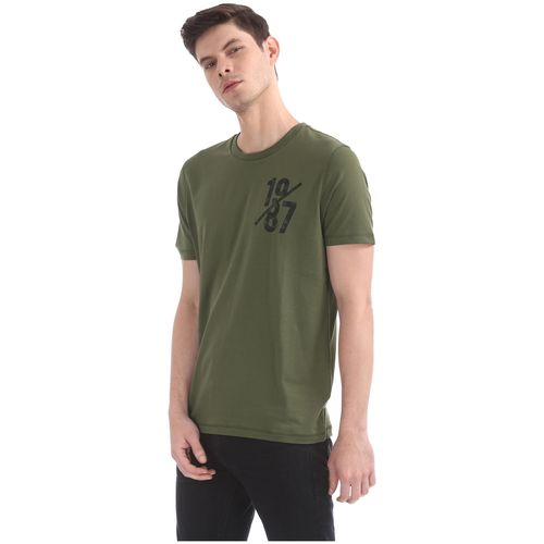 Aeropostale Men Green Regular fit Cotton Round neck T-Shirt - Pack Of 1 by Arvind Lifestyle Brands