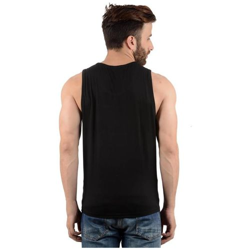 HOTFITS Men Black Regular fit Cotton Scoop neck T-Shirt - Pack Of 1 by Hotfits Clothing