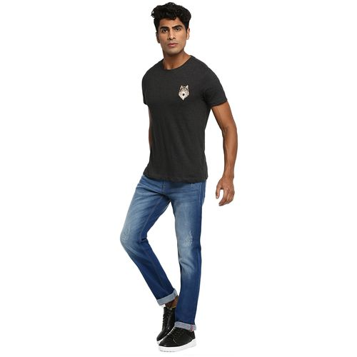 Ruf And Tuf Men Grey Slim fit Cotton Blend Round neck T-Shirt - Pack Of 1 by Arvind Lifestyle Brands