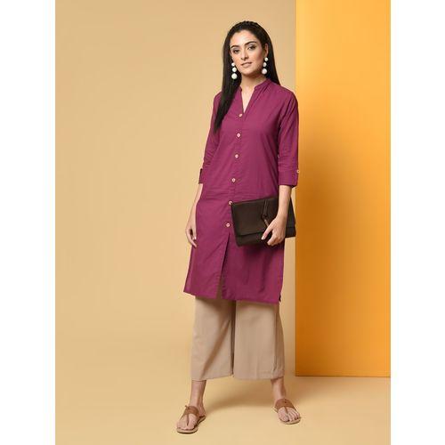 Chinmaya solid buttoned straight kurta