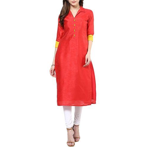 Ives silk plain straight kurta