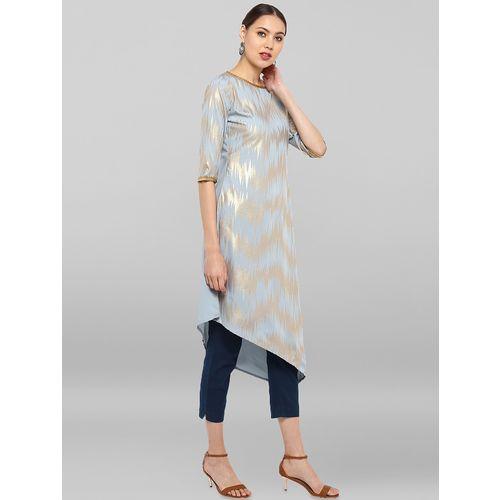 janasya foil print asymmetric kurta
