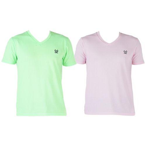 VIMAL JONNEY Men Multi Regular fit Cotton V neck T-Shirt - Pack Of 1 by Mack Hosiery